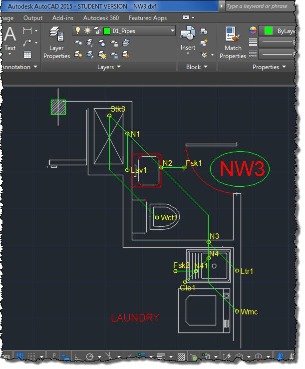 Creating a DESAGÜES (DRAINS) Project from AUTOCAD DXF
