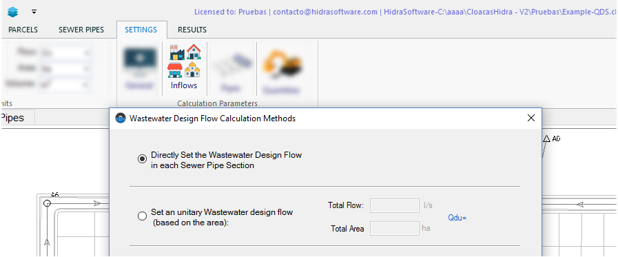 Available Options for Wastewater Design Flows Calculation with