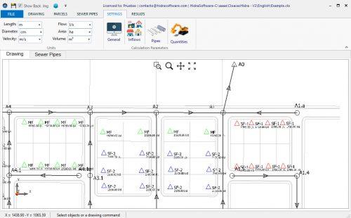 Drawing-area-sanitary-sewer-design-software