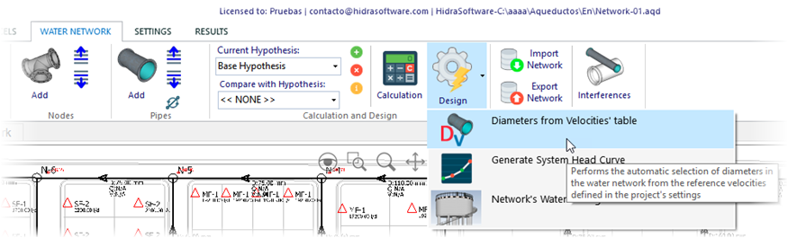 Carrying Out The Calculation And Design Of The Water Distribution Network With Aqueducts Hidrasoftware